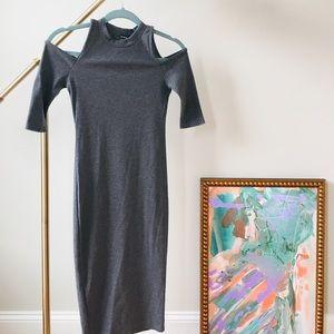 Cold-shoulder Mock Neck Midi Dress